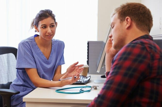 Psychiatric Mental Health Nurse Practitioner student caring for patient