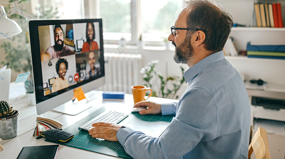 Group of people on an online video call