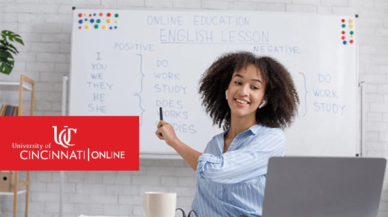 Teacher explaining online English language education