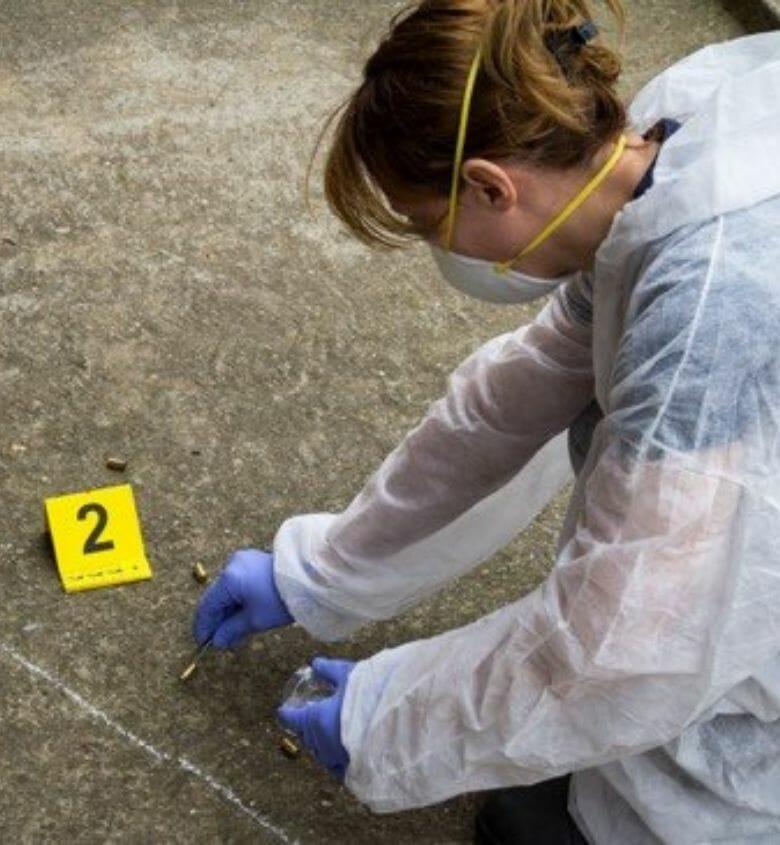 Criminal Justice student working in crime scene
